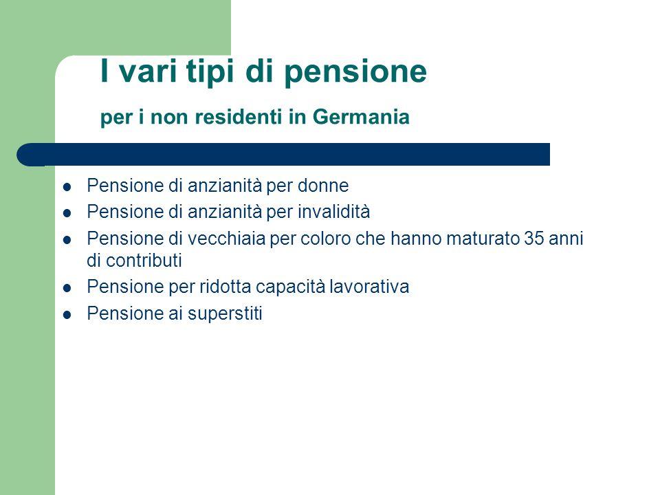 I vari tipi di pensione per i non residenti in Germania