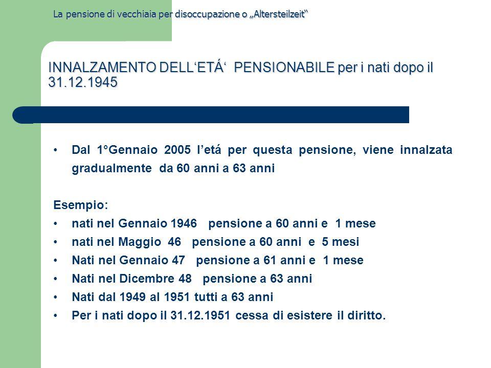 INNALZAMENTO DELL'ETÁ' PENSIONABILE per i nati dopo il 31.12.1945