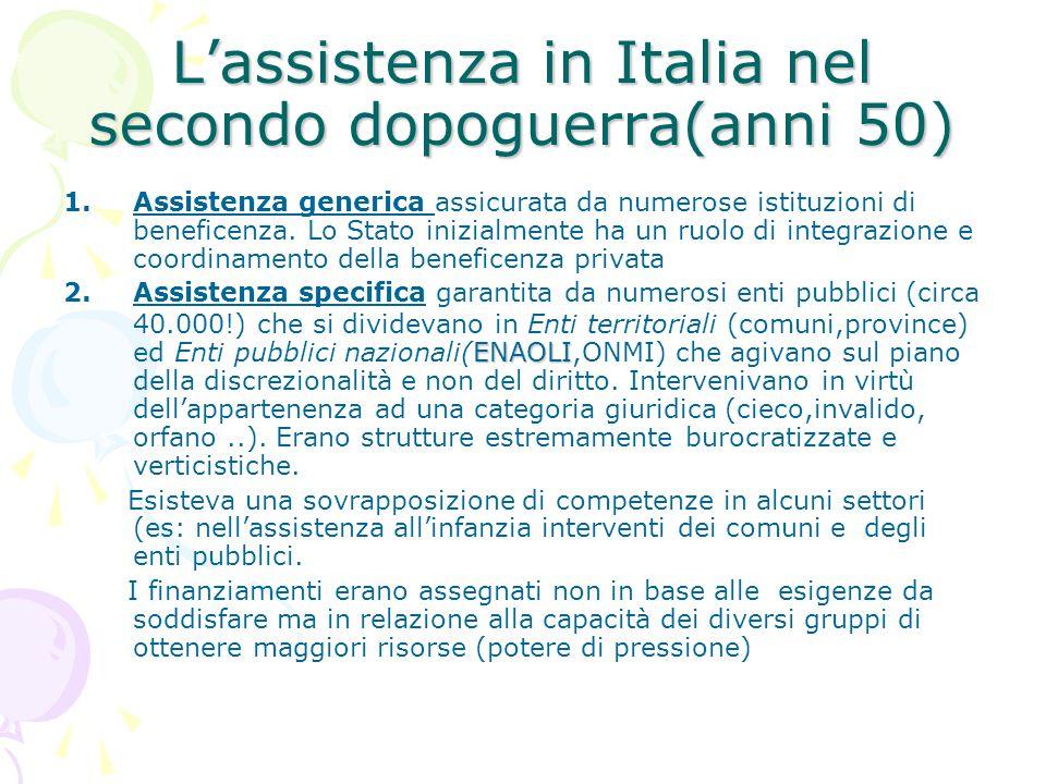 L'assistenza in Italia nel secondo dopoguerra(anni 50)