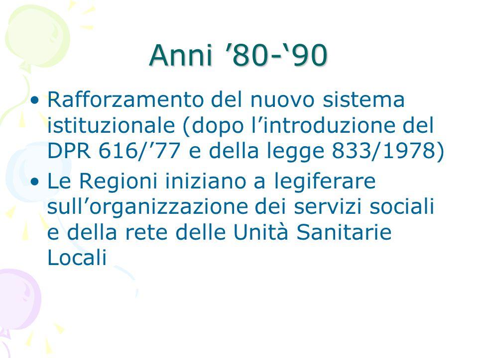 Anni '80-'90 Rafforzamento del nuovo sistema istituzionale (dopo l'introduzione del DPR 616/'77 e della legge 833/1978)