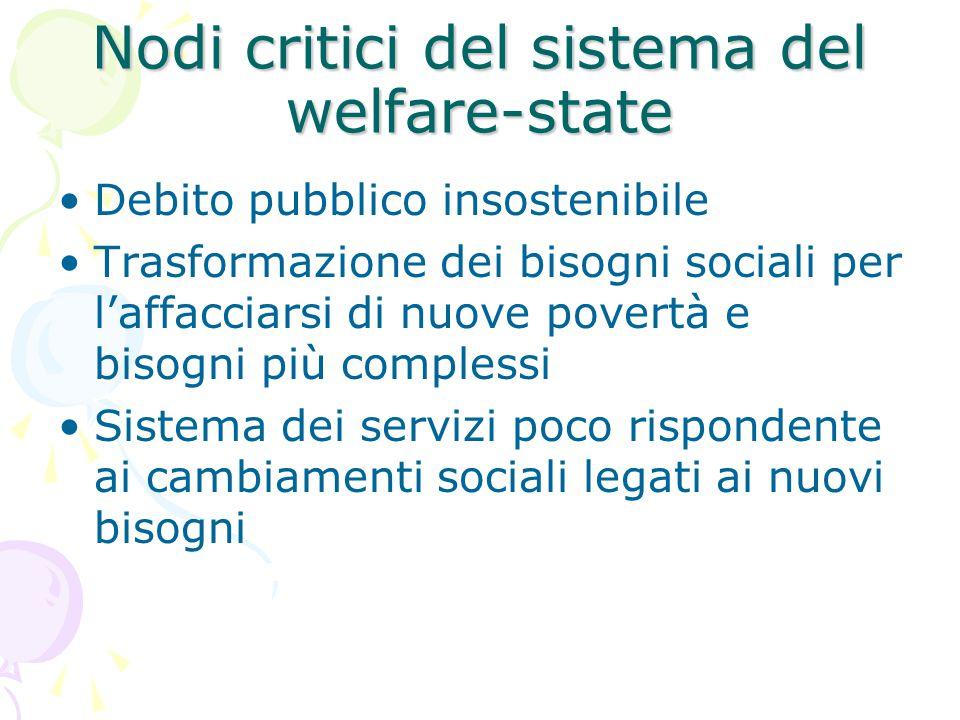 Nodi critici del sistema del welfare-state