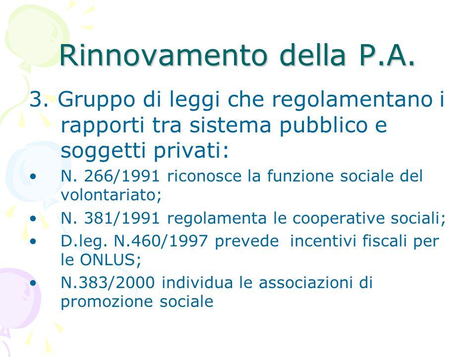 Rinnovamento della P.A. 3. Gruppo di leggi che regolamentano i rapporti tra sistema pubblico e soggetti privati:
