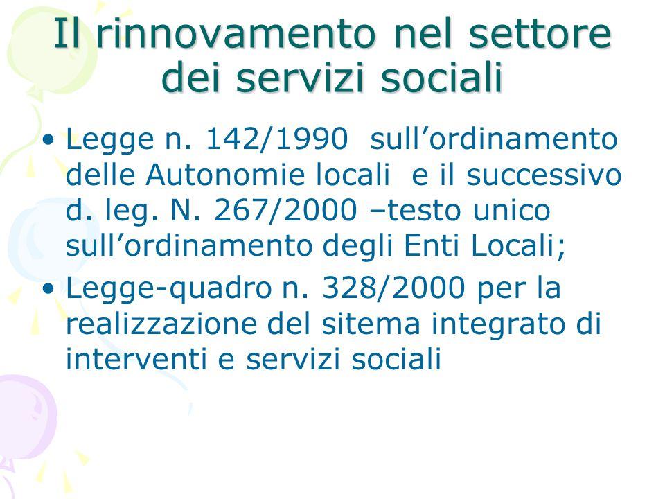 Il rinnovamento nel settore dei servizi sociali