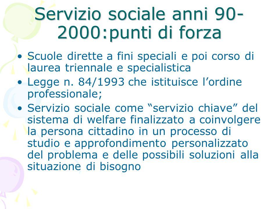 Servizio sociale anni 90-2000:punti di forza