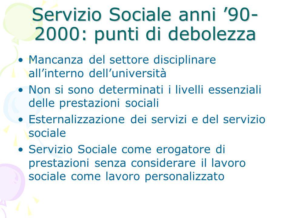 Servizio Sociale anni '90-2000: punti di debolezza