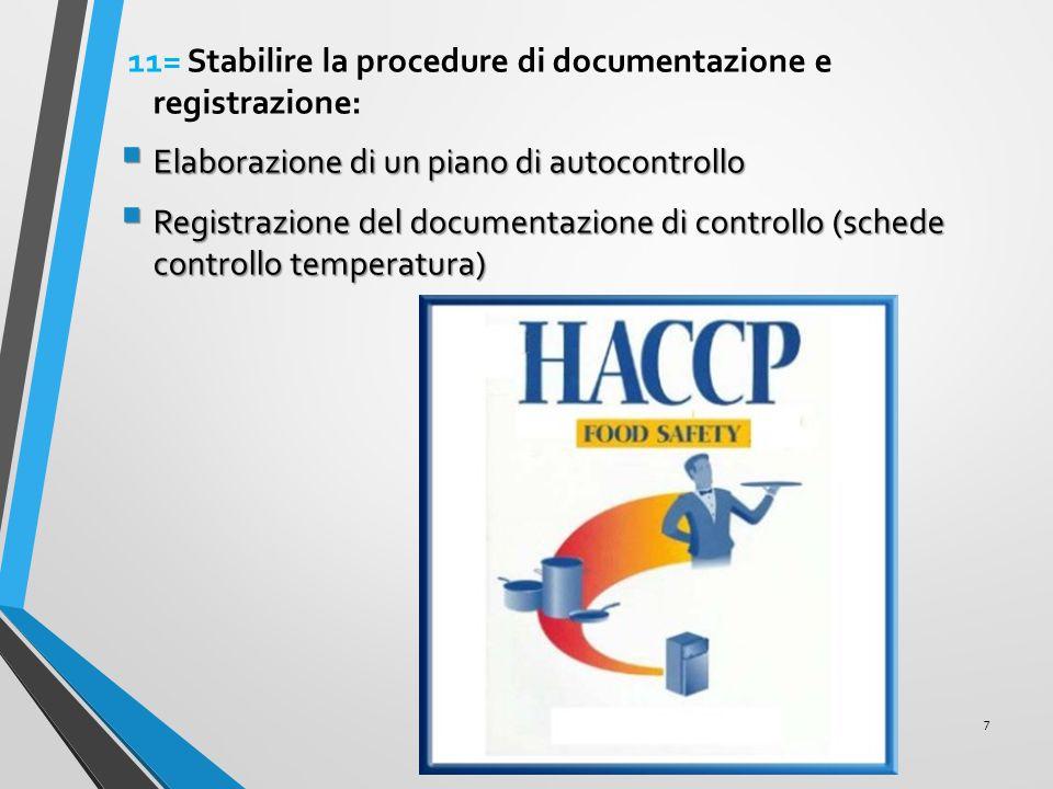 11= Stabilire la procedure di documentazione e registrazione: