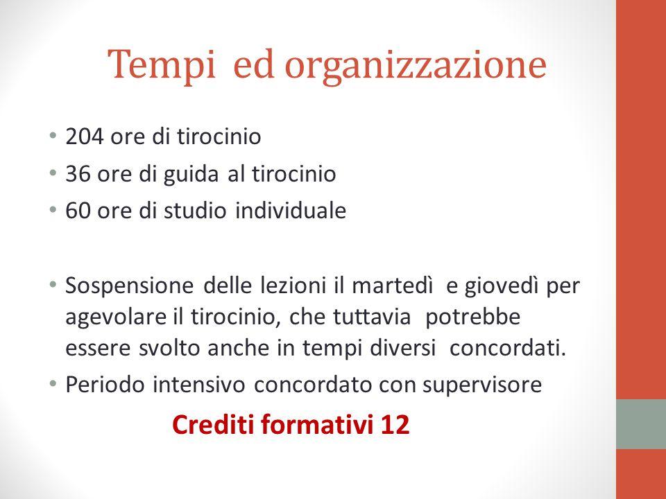 Tempi ed organizzazione