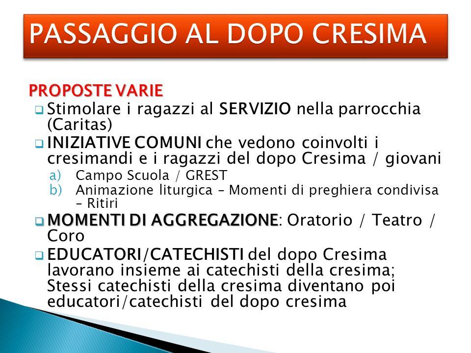 PASSAGGIO AL DOPO CRESIMA