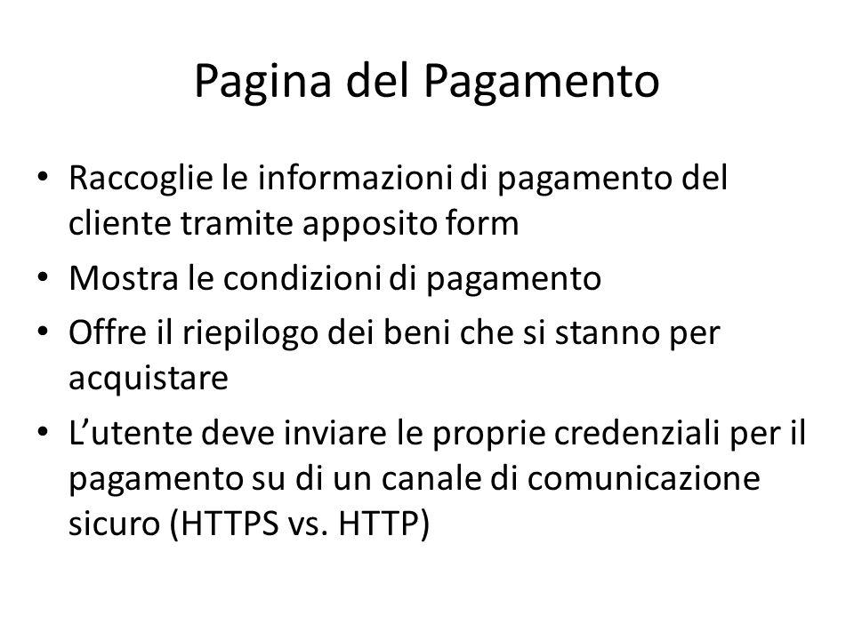 Pagina del Pagamento Raccoglie le informazioni di pagamento del cliente tramite apposito form. Mostra le condizioni di pagamento.