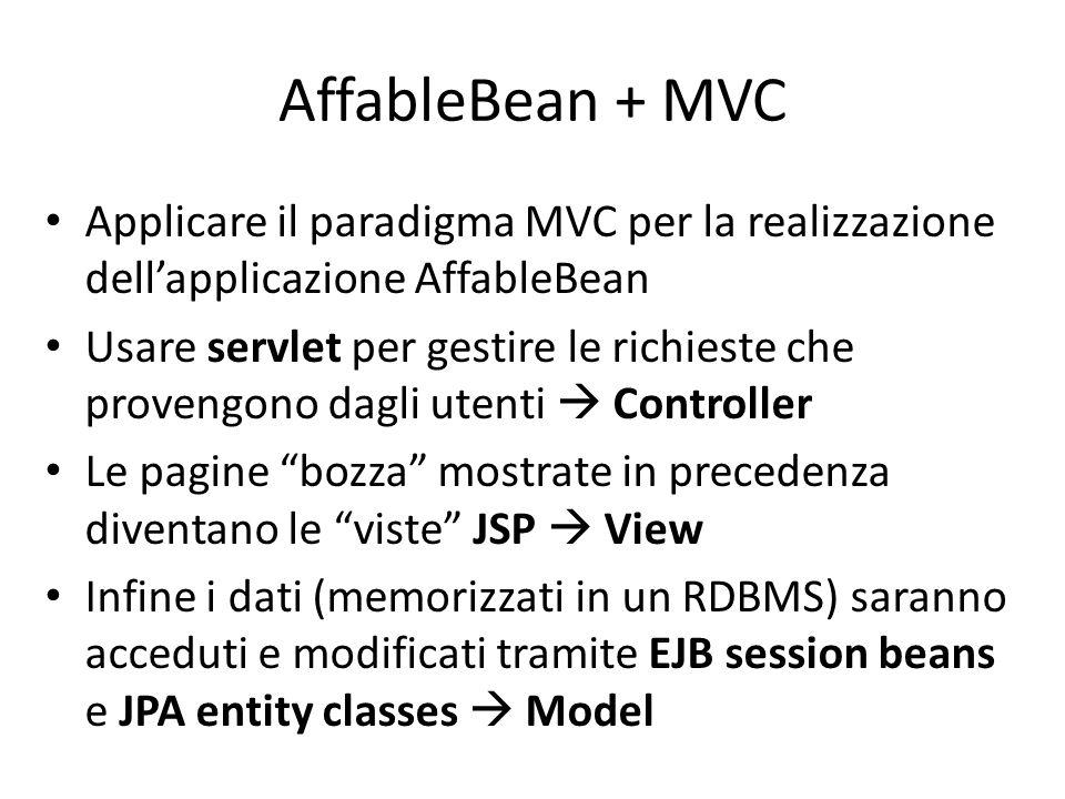 AffableBean + MVC Applicare il paradigma MVC per la realizzazione dell'applicazione AffableBean.