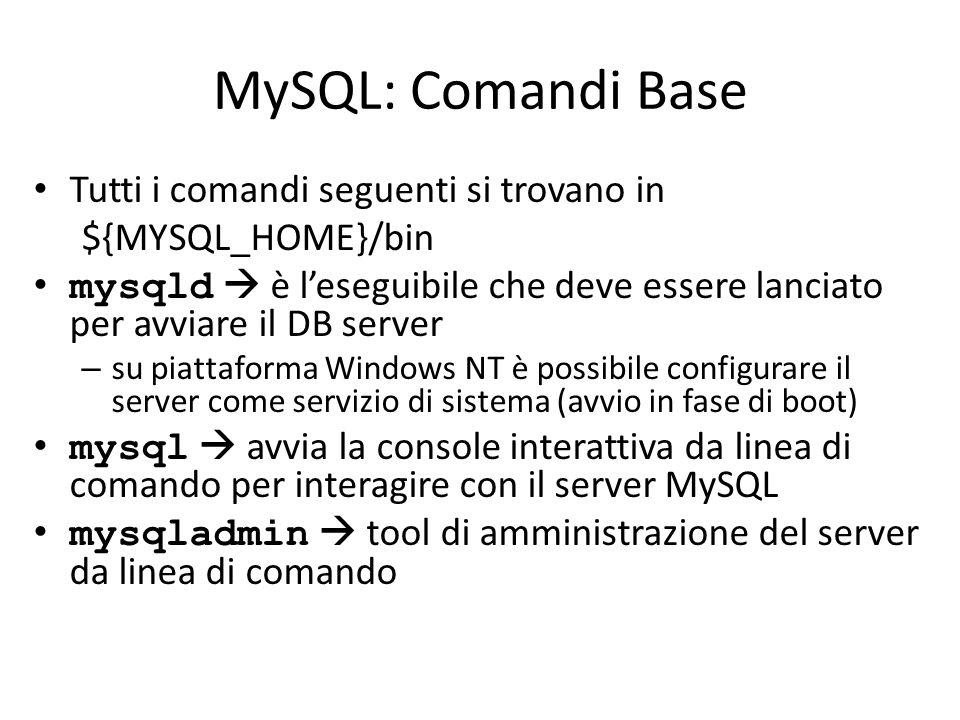 MySQL: Comandi Base Tutti i comandi seguenti si trovano in
