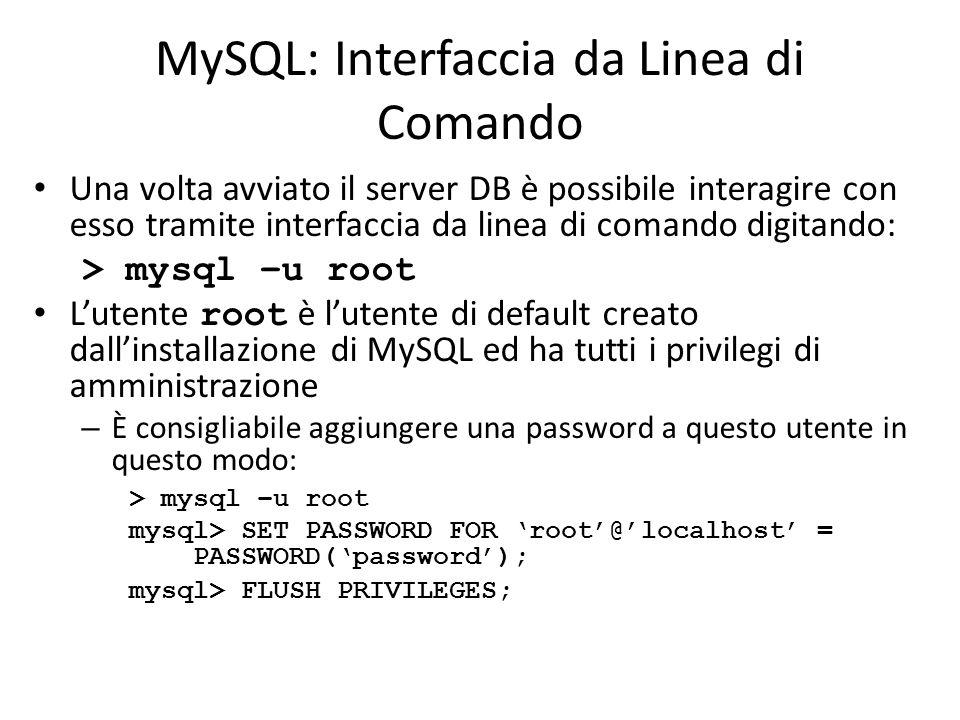 MySQL: Interfaccia da Linea di Comando
