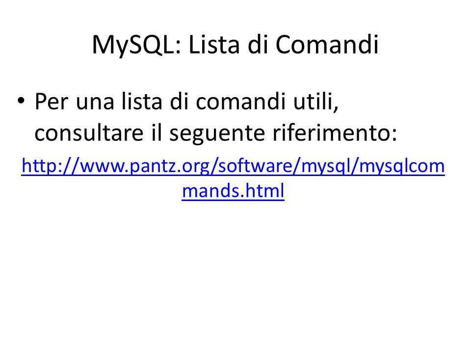 MySQL: Lista di Comandi