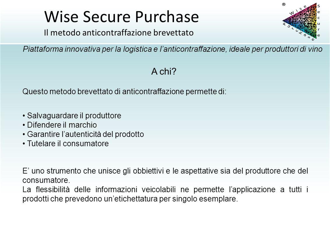 Wise Secure Purchase Il metodo anticontraffazione brevettato A chi