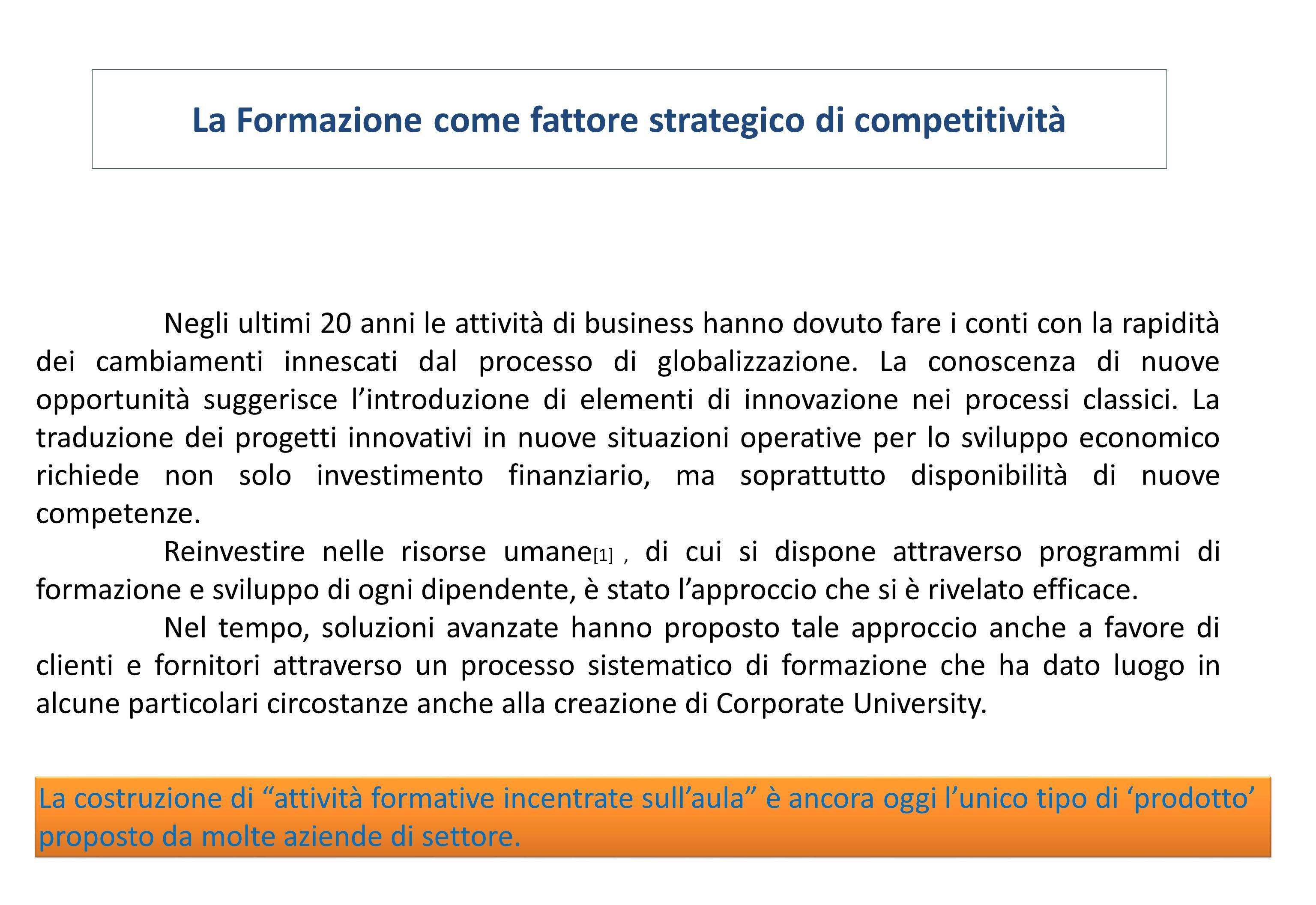 La Formazione come fattore strategico di competitività