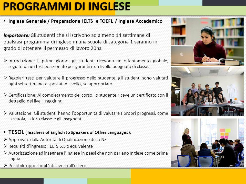PROGRAMMI DI INGLESE Inglese Generale / Preparazione IELTS e TOEFL / Inglese Accademico.