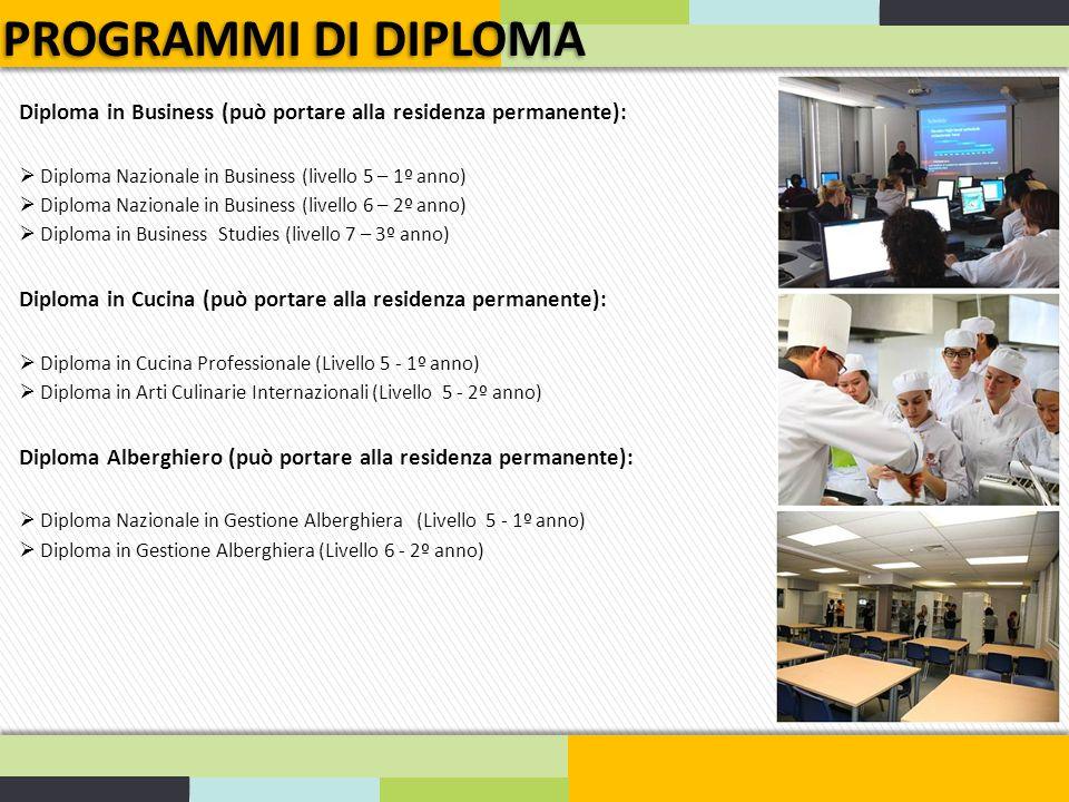 PROGRAMMI DI DIPLOMA Diploma in Business (può portare alla residenza permanente): Diploma Nazionale in Business (livello 5 – 1º anno)