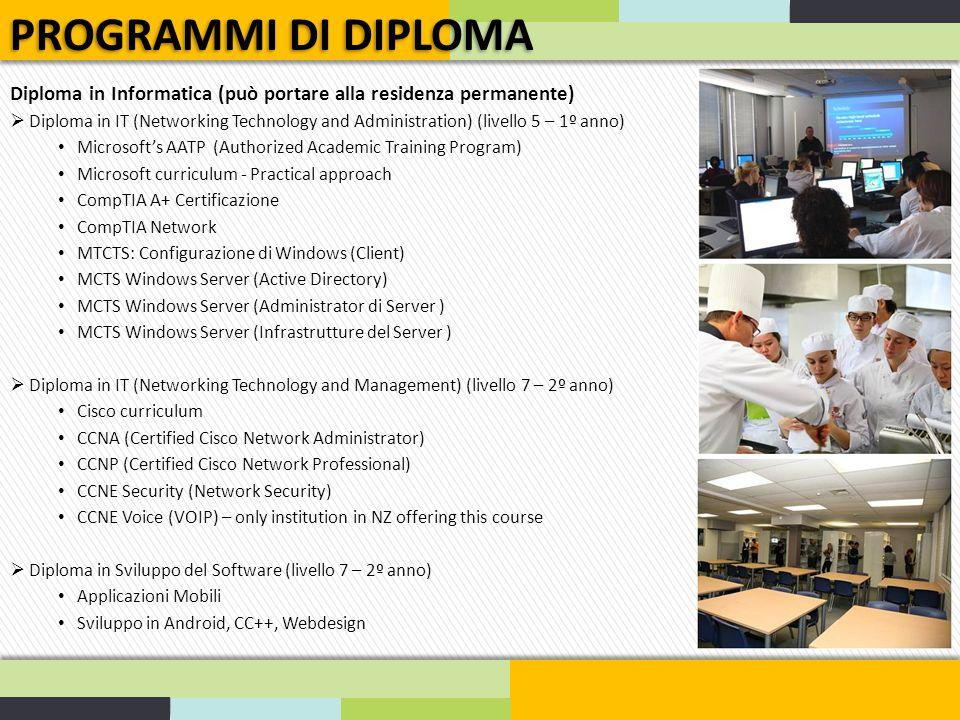 PROGRAMMI DI DIPLOMA Diploma in Informatica (può portare alla residenza permanente)
