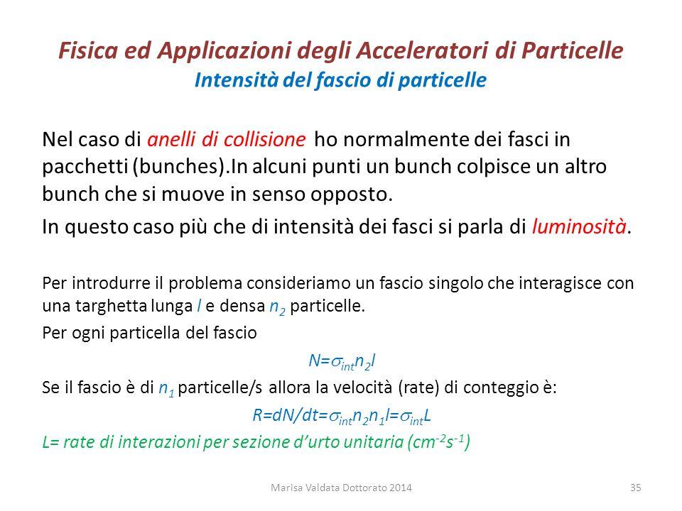 Fisica ed Applicazioni degli Acceleratori di Particelle Intensità del fascio di particelle
