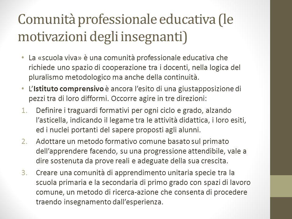 Comunità professionale educativa (le motivazioni degli insegnanti)