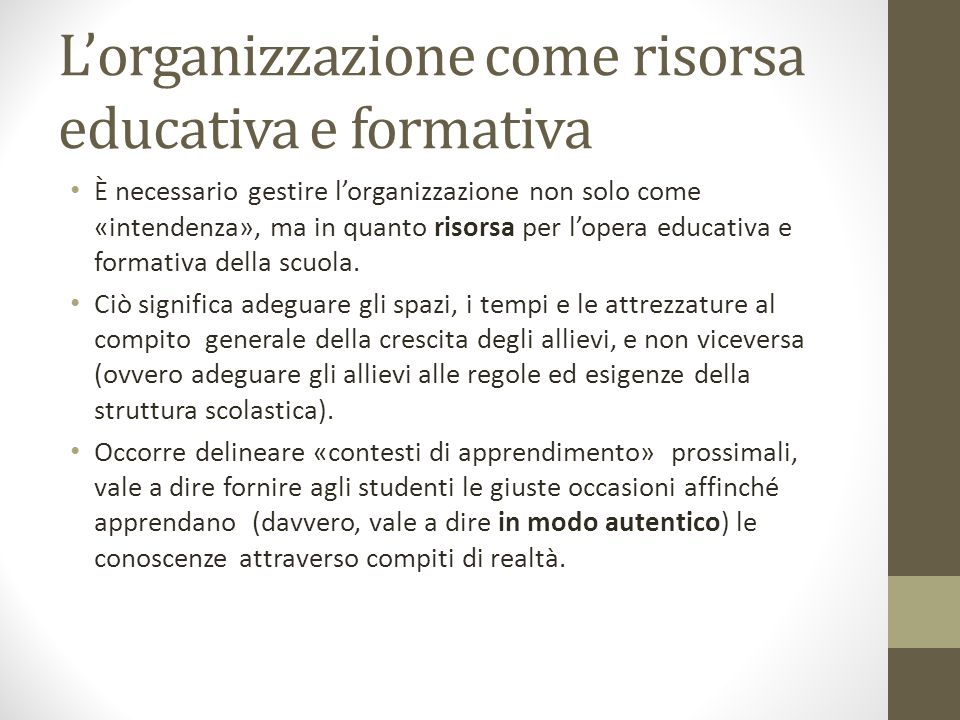 L'organizzazione come risorsa educativa e formativa