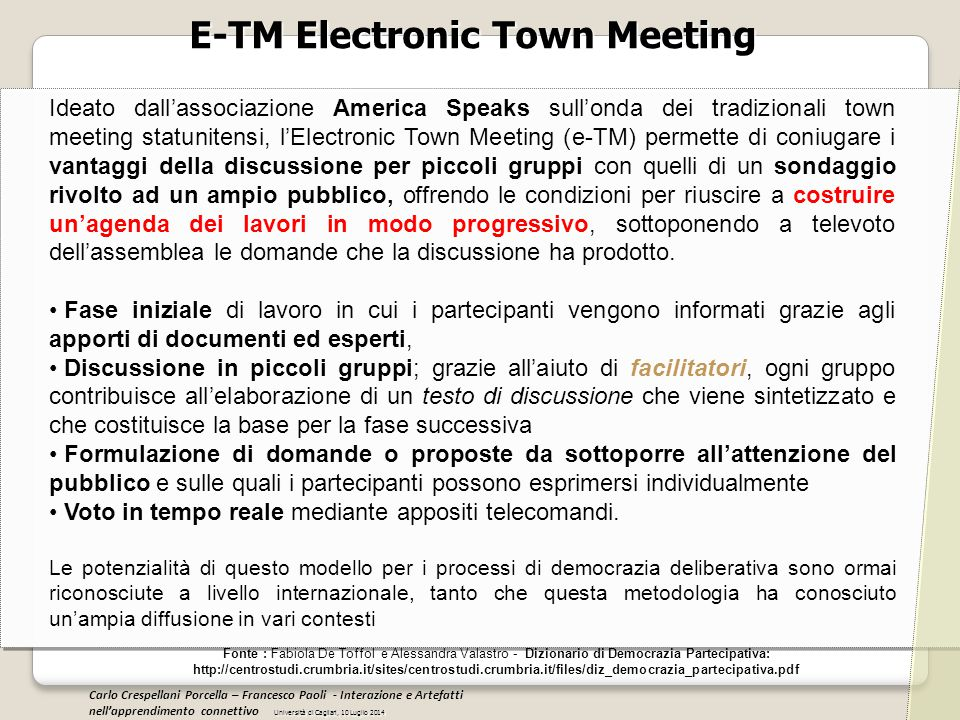 E-TM Electronic Town Meeting