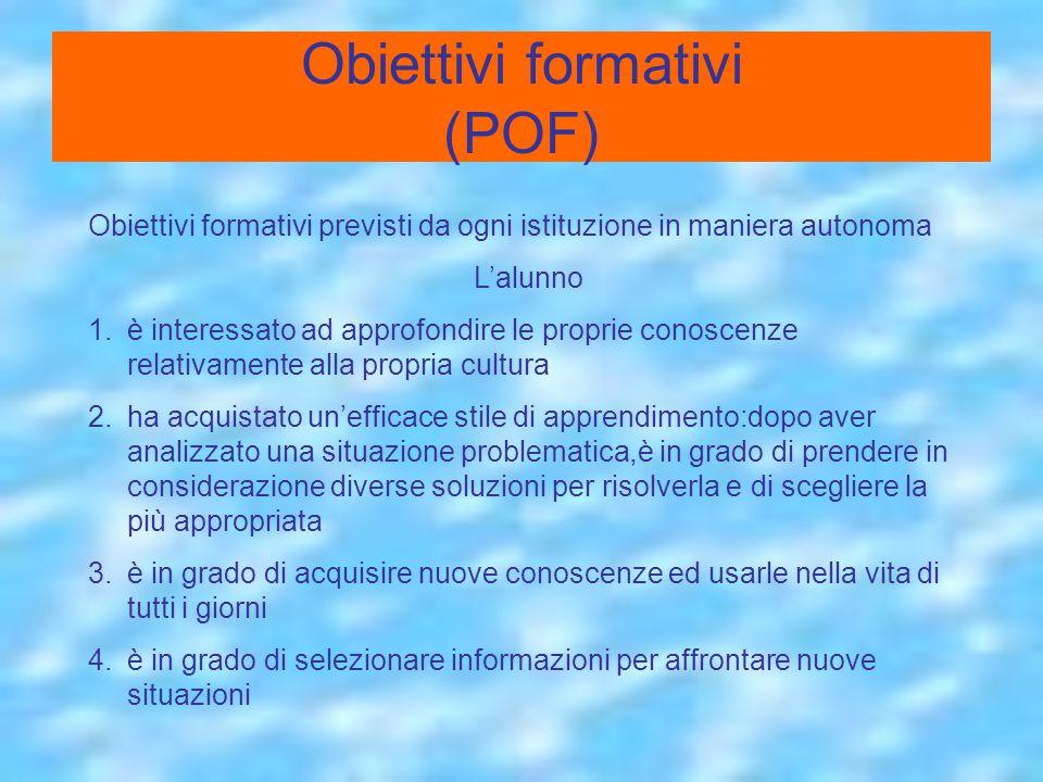 Obiettivi formativi (POF)