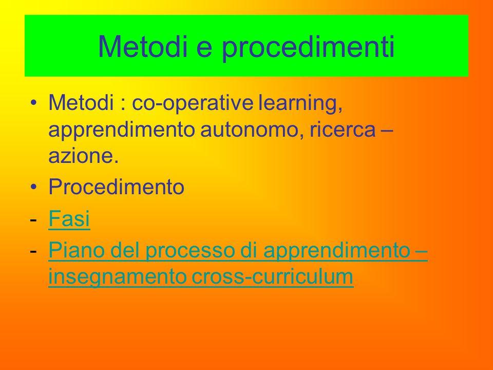 Metodi e procedimenti Metodi : co-operative learning, apprendimento autonomo, ricerca – azione. Procedimento.