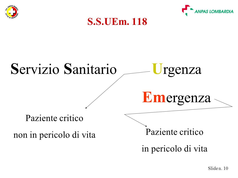 Urgenza Emergenza Servizio Sanitario S.S.UEm. 118 Paziente critico