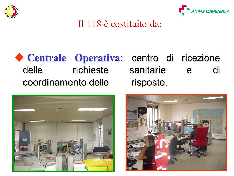 Il 118 è costituito da: Centrale Operativa: centro di ricezione delle richieste sanitarie e di coordinamento delle risposte.