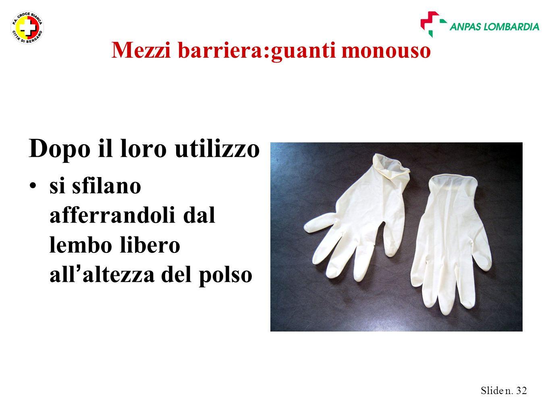 Mezzi barriera:guanti monouso
