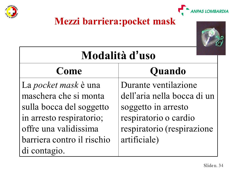 Mezzi barriera:pocket mask