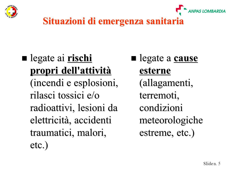 Situazioni di emergenza sanitaria