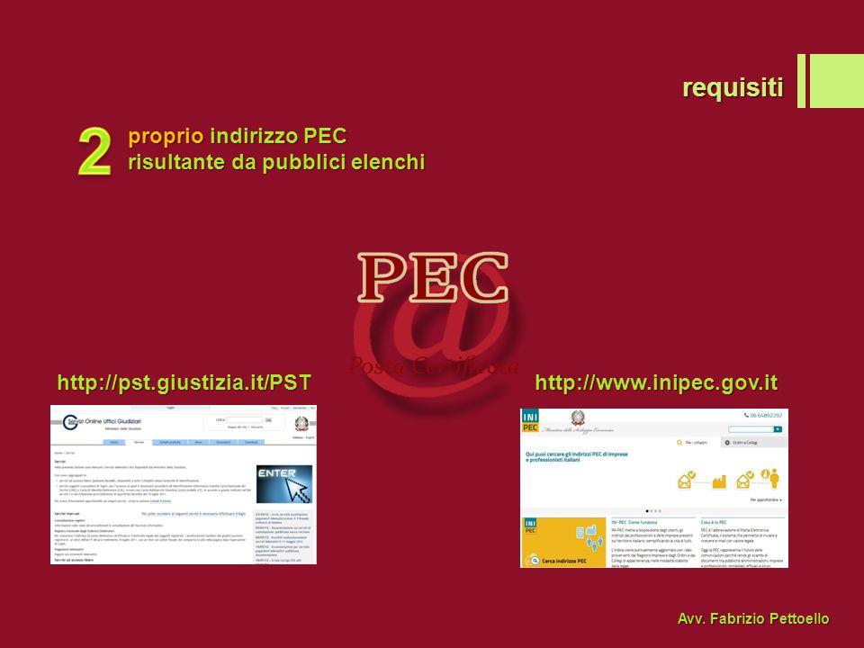 2 requisiti proprio indirizzo PEC risultante da pubblici elenchi