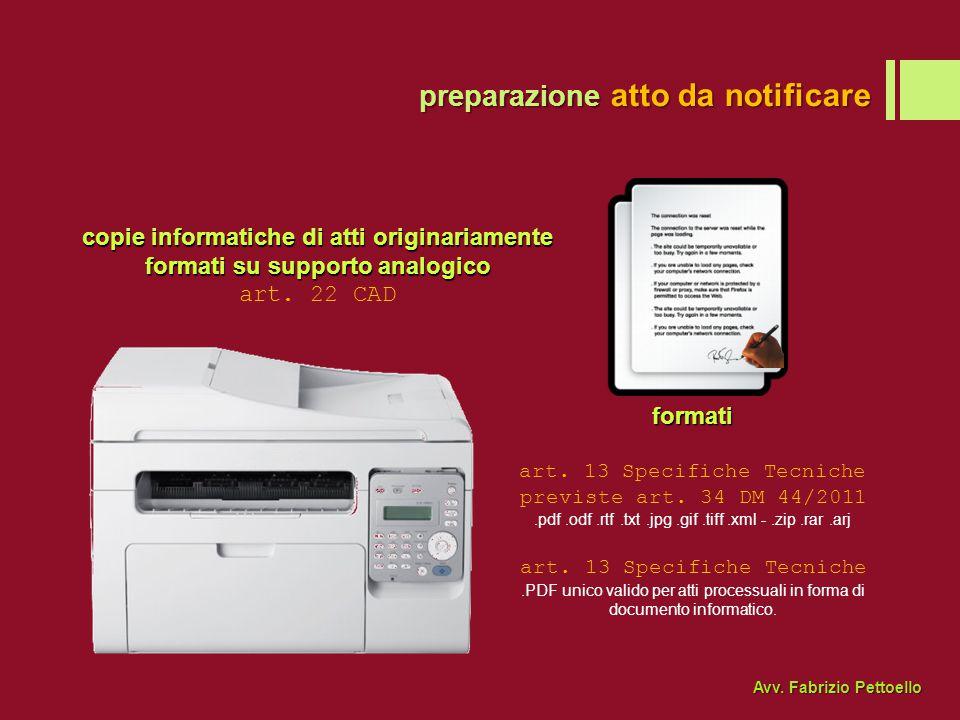 preparazione atto da notificare