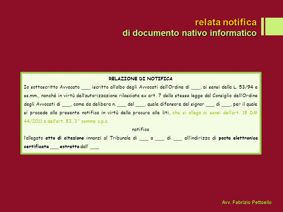 relata notifica di documento nativo informatico RELAZIONE DI NOTIFICA