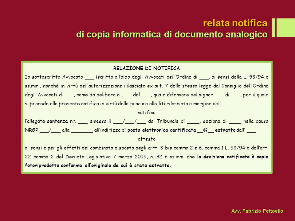 relata notifica di copia informatica di documento analogico