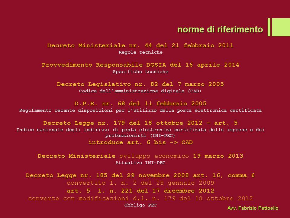 norme di riferimento Decreto Ministeriale nr. 44 del 21 febbraio 2011
