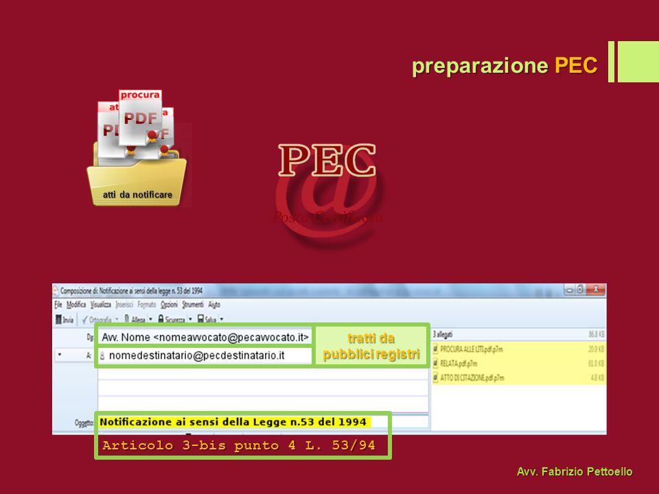preparazione PEC Articolo 3-bis punto 4 L. 53/94 tratti da