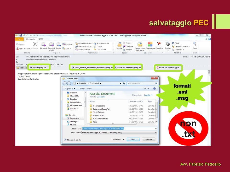 salvataggio PEC formati .eml .msg non .txt Avv. Fabrizio Pettoello