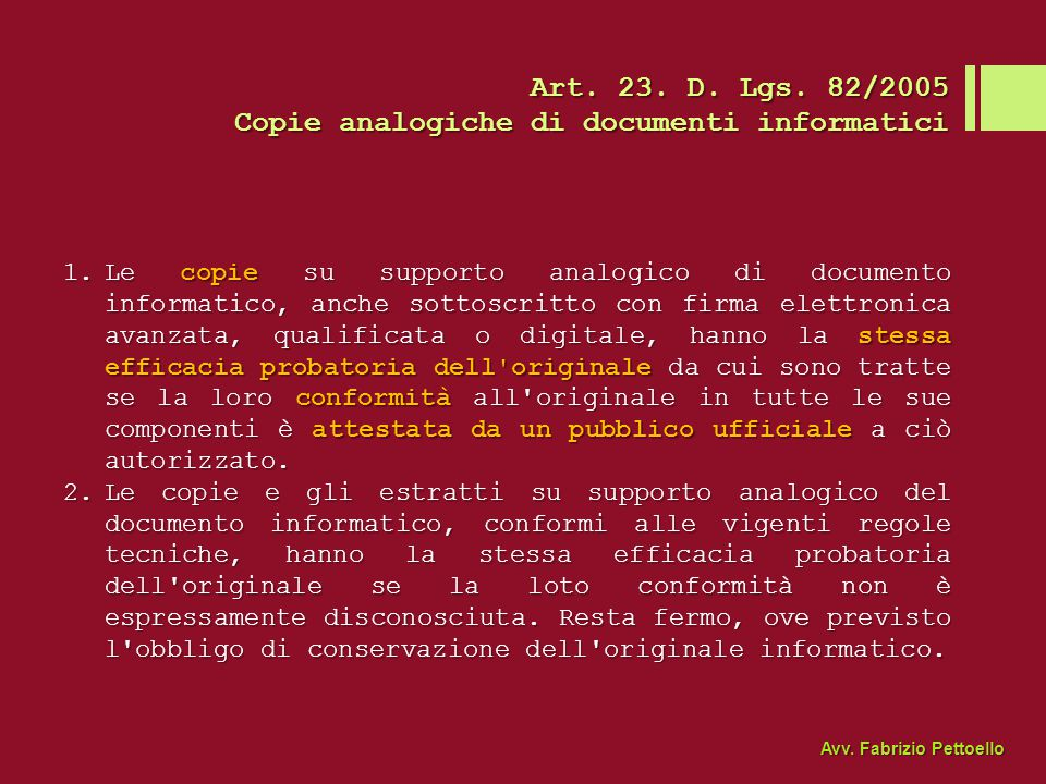 Copie analogiche di documenti informatici