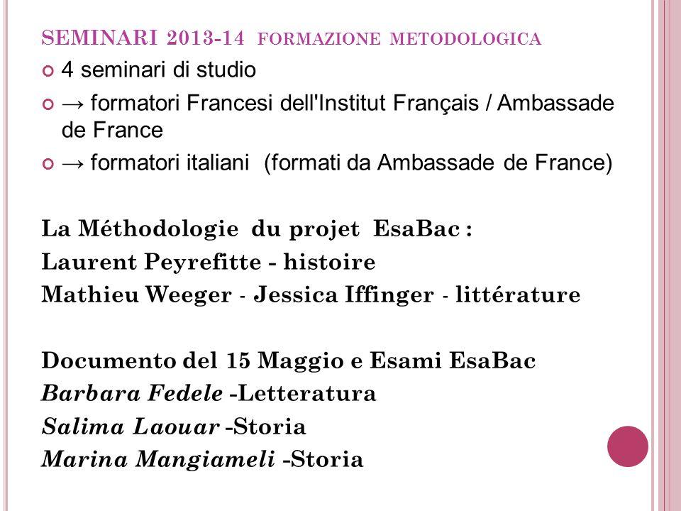 SEMINARI 2013-14 formazione metodologica