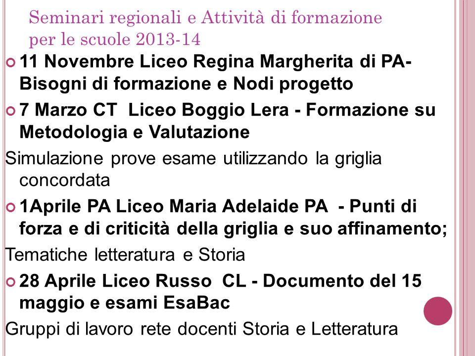 Seminari regionali e Attività di formazione per le scuole 2013-14