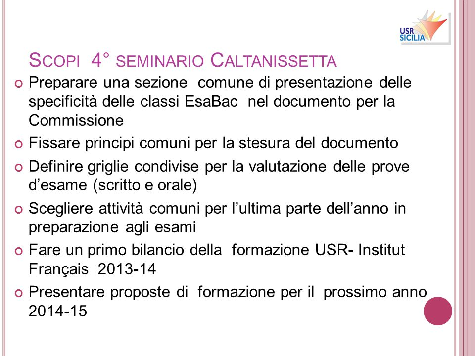 Scopi 4° seminario Caltanissetta