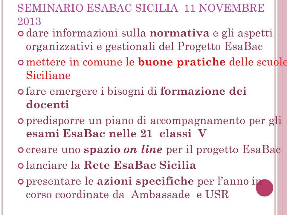 SEMINARIO ESABAC SICILIA 11 NOVEMBRE 2013