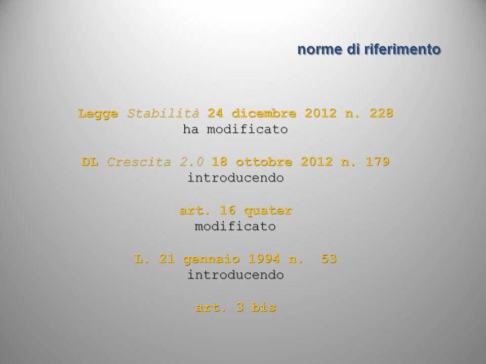 Legge Stabilità 24 dicembre 2012 n. 228