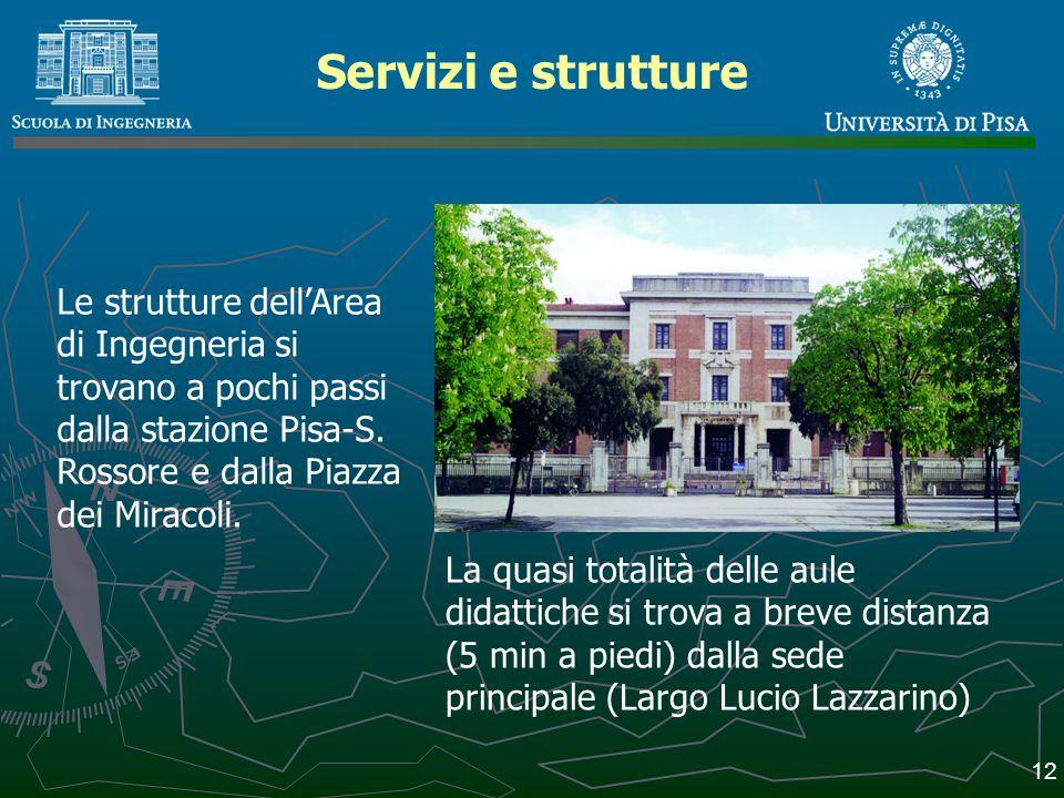 Servizi e strutture Le strutture dell'Area di Ingegneria si trovano a pochi passi dalla stazione Pisa-S. Rossore e dalla Piazza dei Miracoli.