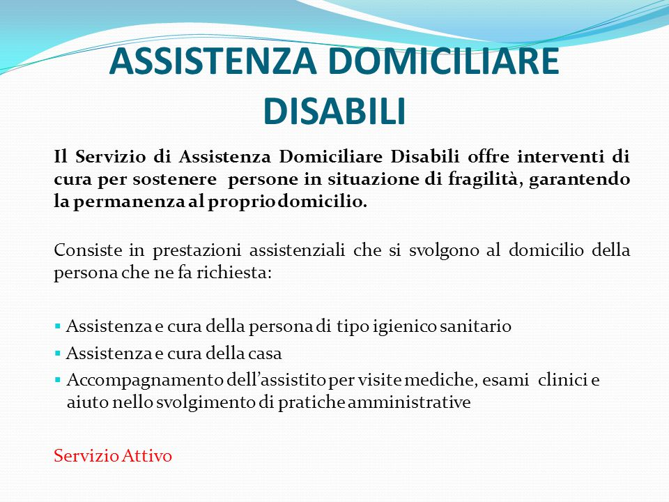ASSISTENZA DOMICILIARE DISABILI
