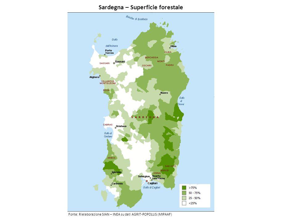Sardegna – Superficie forestale