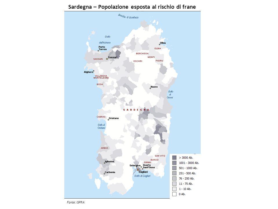 Sardegna – Popolazione esposta al rischio di frane
